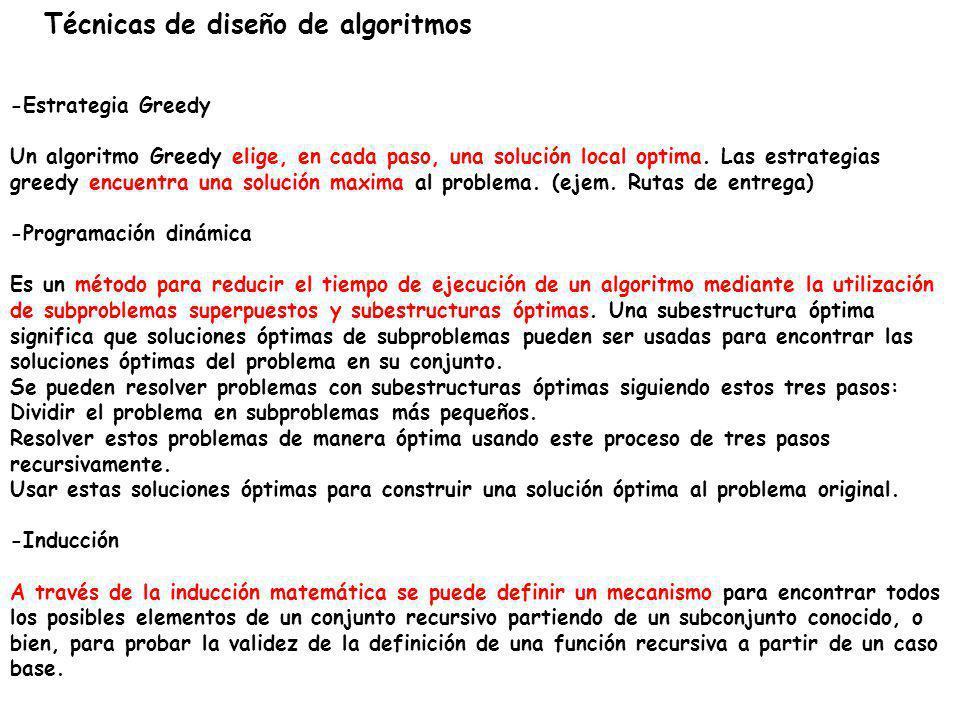 Técnicas de diseño de algoritmos -Estrategia Greedy Un algoritmo Greedy elige, en cada paso, una solución local optima. Las estrategias greedy encuent