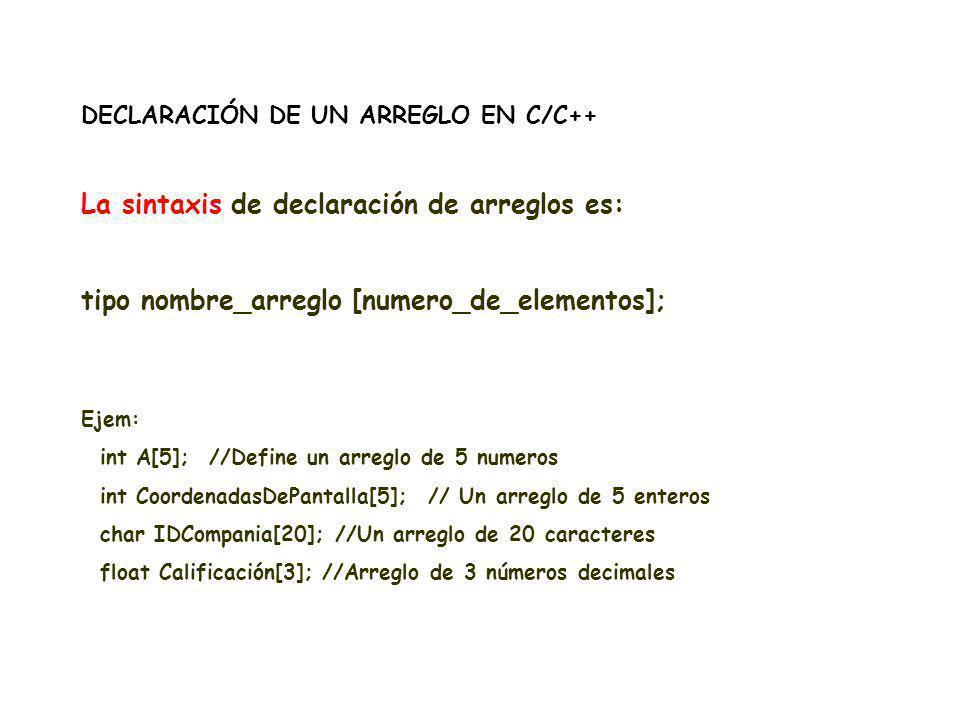DECLARACIÓN DE UN ARREGLO EN C/C++ La sintaxis de declaración de arreglos es: tipo nombre_arreglo [numero_de_elementos]; Ejem: int A[5]; //Define un a