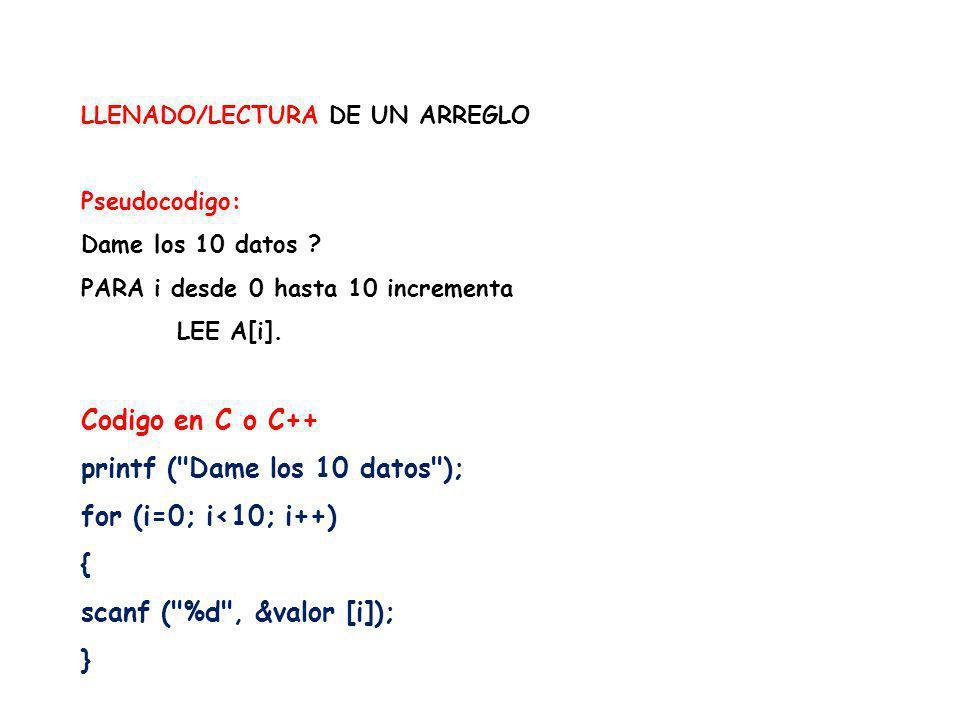 LLENADO/LECTURA DE UN ARREGLO Pseudocodigo: Dame los 10 datos ? PARA i desde 0 hasta 10 incrementa LEE A[i]. Codigo en C o C++ printf (