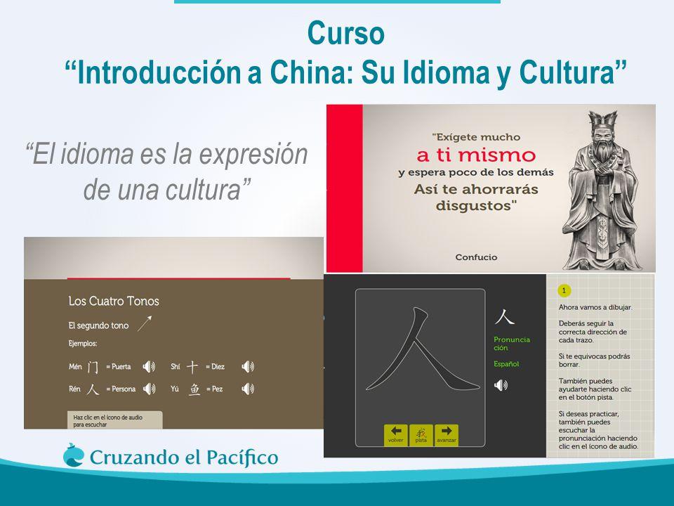 Curso Introducción a China: Su Idioma y Cultura El idioma es la expresión de una cultura