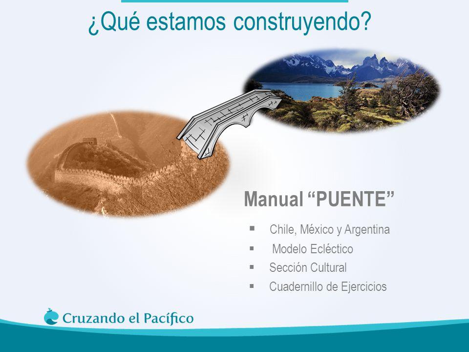 Manual PUENTE ¿Qué estamos construyendo? Chile, México y Argentina Modelo Ecléctico Sección Cultural Cuadernillo de Ejercicios