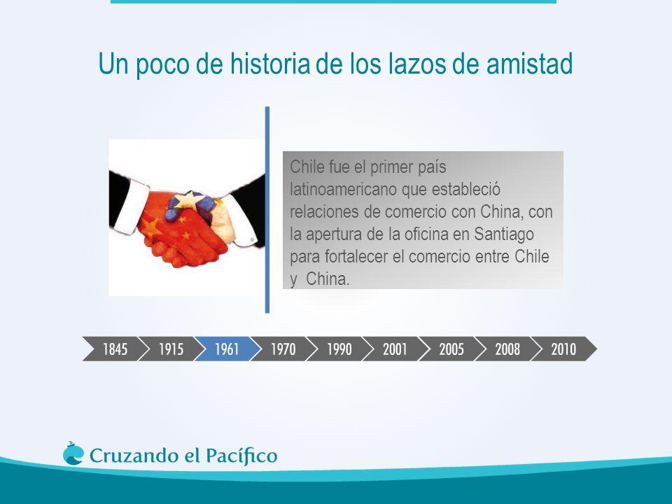 Chile fue el primer país latinoamericano que estableció relaciones de comercio con China, con la apertura de la oficina en Santiago para fortalecer el