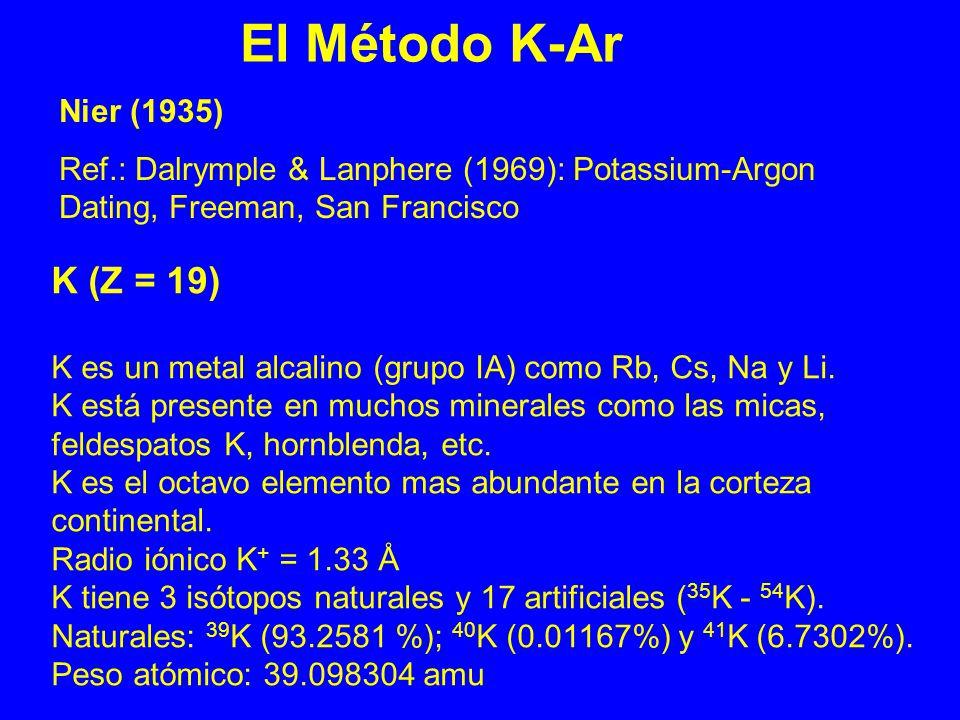 K (Z = 19) K es un metal alcalino (grupo IA) como Rb, Cs, Na y Li. K está presente en muchos minerales como las micas, feldespatos K, hornblenda, etc.