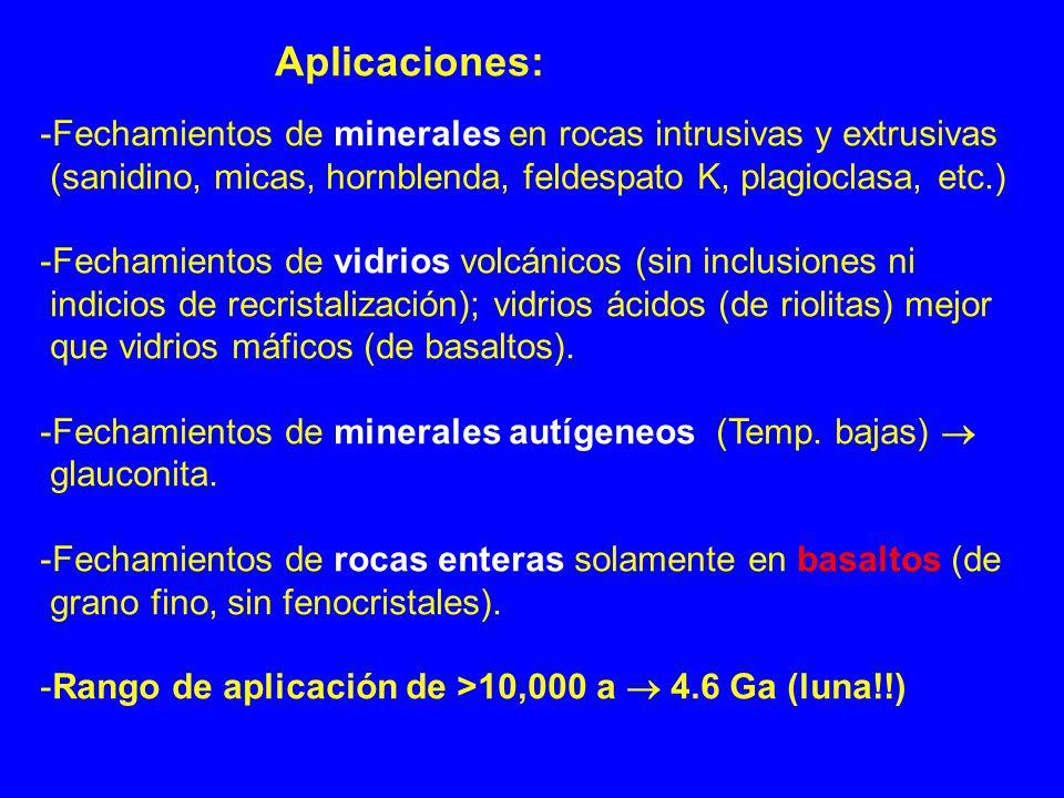 Aplicaciones: -Fechamientos de minerales en rocas intrusivas y extrusivas (sanidino, micas, hornblenda, feldespato K, plagioclasa, etc.) -Fechamientos