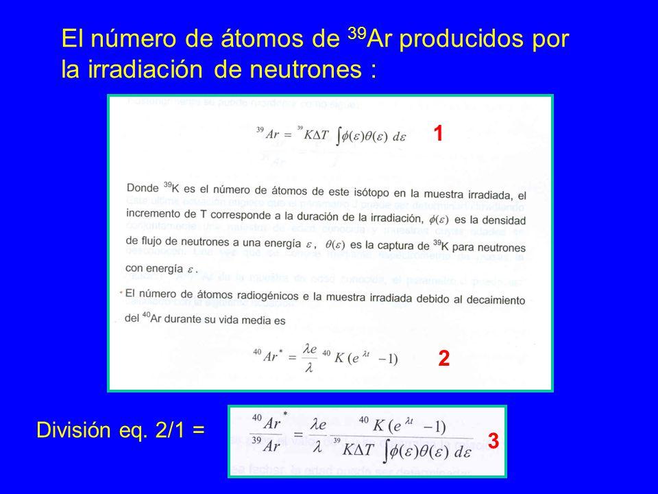 El número de átomos de 39 Ar producidos por la irradiación de neutrones : 2 1 División eq. 2/1 = 3