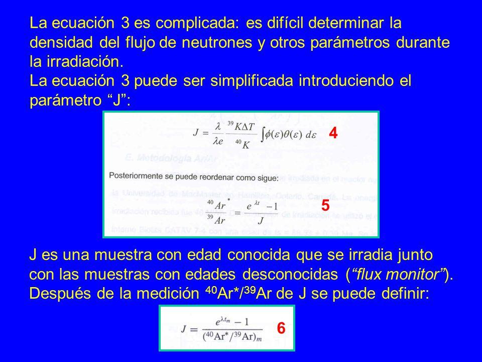 La ecuación 3 es complicada: es difícil determinar la densidad del flujo de neutrones y otros parámetros durante la irradiación. La ecuación 3 puede s