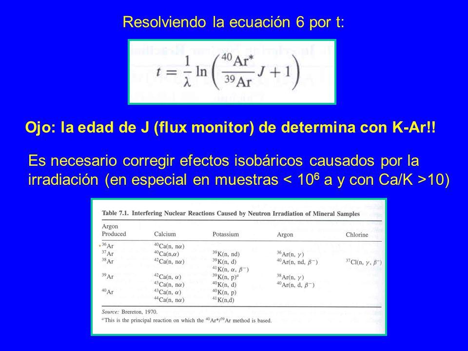 Resolviendo la ecuación 6 por t: Ojo: la edad de J (flux monitor) de determina con K-Ar!! Es necesario corregir efectos isobáricos causados por la irr