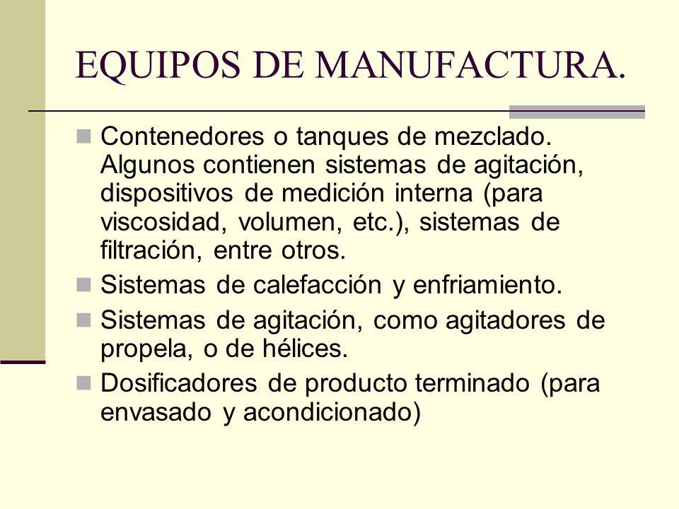 EQUIPOS DE MANUFACTURA. Contenedores o tanques de mezclado. Algunos contienen sistemas de agitación, dispositivos de medición interna (para viscosidad