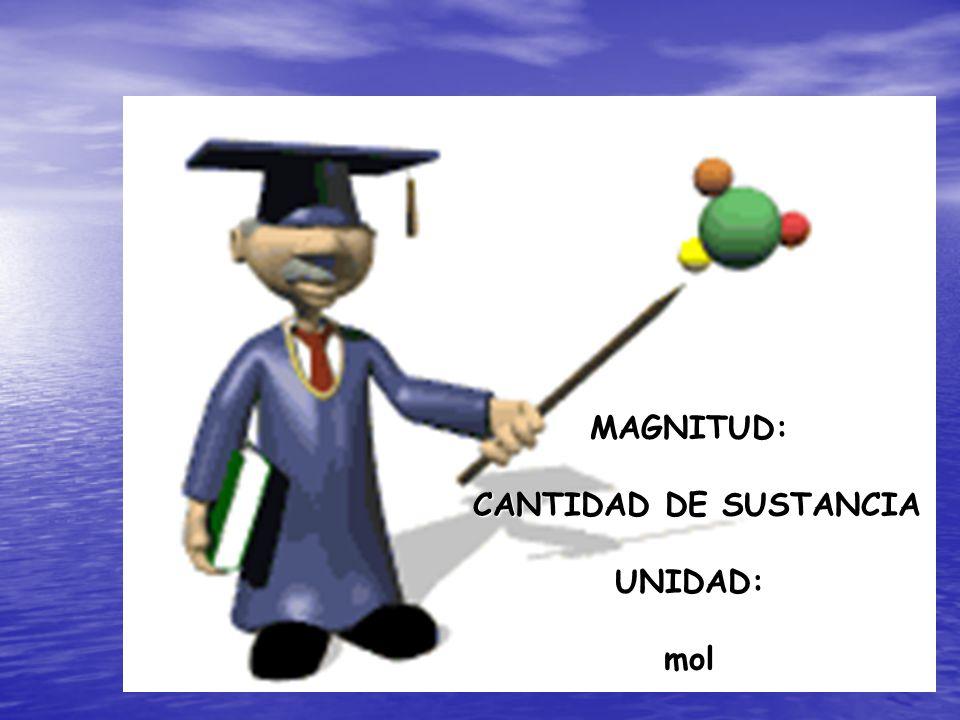 MAGNITUD: CANTIDAD DE SUSTANCIA UNIDAD: CANTIDAD DE SUSTANCIA UNIDAD:mol