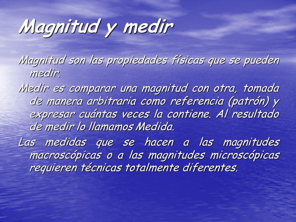 Magnitud y medir Magnitud son las propiedades físicas que se pueden medir. Medir es comparar una magnitud con otra, tomada de manera arbitraria como r