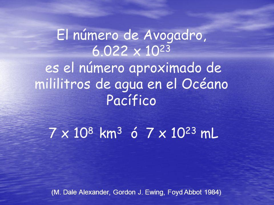 El número de Avogadro, 6.022 x 10 23 es el número aproximado de mililitros de agua en el Océano Pacífico 7 x 10 8 km 3 ó 7 x 10 23 mL (M. Dale Alexand