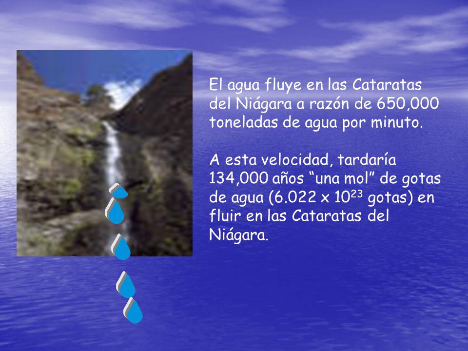 El agua fluye en las Cataratas del Niágara a razón de 650,000 toneladas de agua por minuto. A esta velocidad, tardaría 134,000 años una mol de gotas d