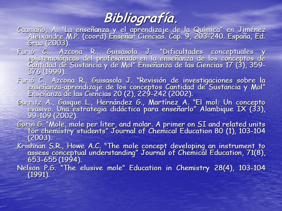 Bibliografía. Caamaño, A. La enseñanza y el aprendizaje de la Química en Jiménez Aleixandre M.P. (coord) Enseñar Ciencias. Cap. 9, 203-240. España, Ed