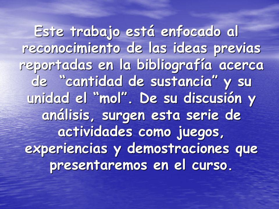 Este trabajo está enfocado al reconocimiento de las ideas previas reportadas en la bibliografía acerca de cantidad de sustancia y su unidad el mol.