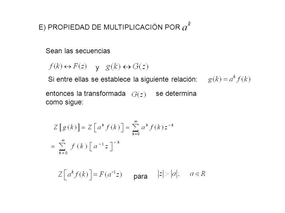 E) PROPIEDAD DE MULTIPLICACIÓN POR Sean las secuencias y Si entre ellas se establece la siguiente relación: entonces la transformada se determina como sigue: para
