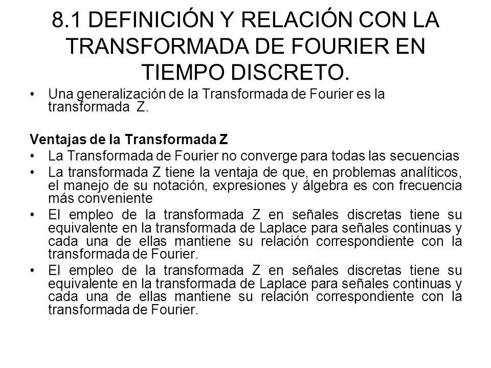 8.1 DEFINICIÓN Y RELACIÓN CON LA TRANSFORMADA DE FOURIER EN TIEMPO DISCRETO. Una generalización de la Transformada de Fourier es la transformada Z. Ve