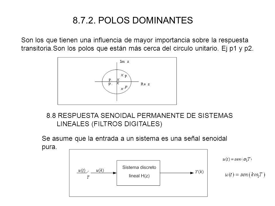 8.7.2. POLOS DOMINANTES Son los que tienen una influencia de mayor importancia sobre la respuesta transitoria.Son los polos que están más cerca del ci