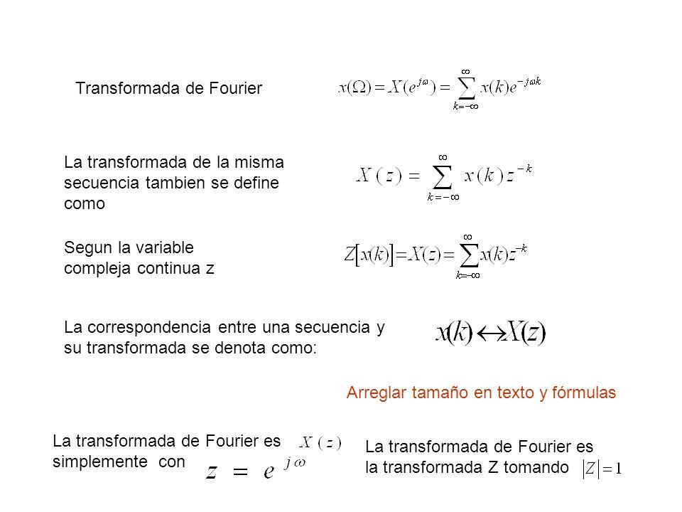 Transformada de Fourier La transformada de la misma secuencia tambien se define como Segun la variable compleja continua z La correspondencia entre una secuencia y su transformada se denota como: La transformada de Fourier es simplemente con La transformada de Fourier es la transformada Z tomando Arreglar tamaño en texto y fórmulas