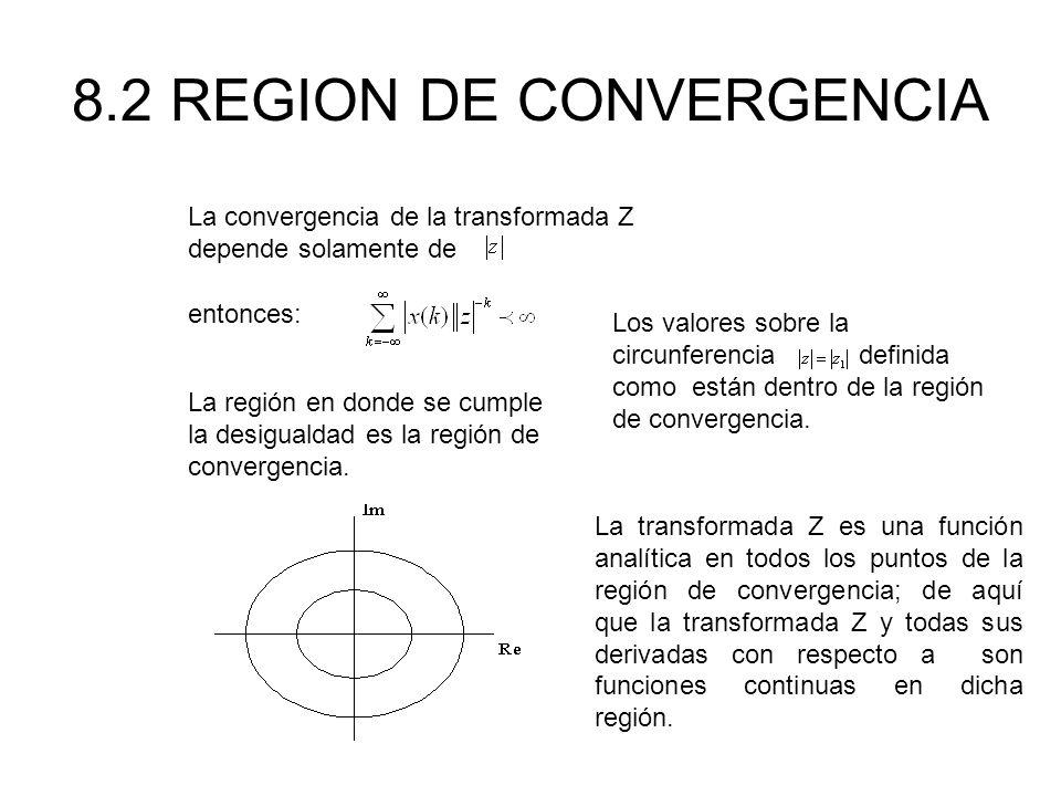 8.2 REGION DE CONVERGENCIA La convergencia de la transformada Z depende solamente de entonces: La región en donde se cumple la desigualdad es la región de convergencia.