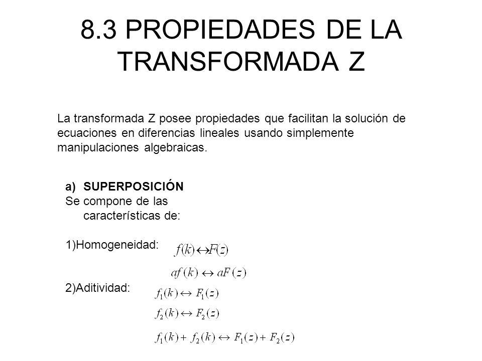 8.3 PROPIEDADES DE LA TRANSFORMADA Z La transformada Z posee propiedades que facilitan la solución de ecuaciones en diferencias lineales usando simplemente manipulaciones algebraicas.