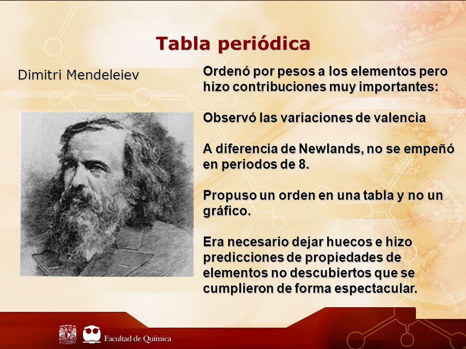 Tabla periódica Dimitri Mendeleiev Ordenó por pesos a los elementos pero hizo contribuciones muy importantes: Observó las variaciones de valencia A diferencia de Newlands, no se empeñó en periodos de 8.