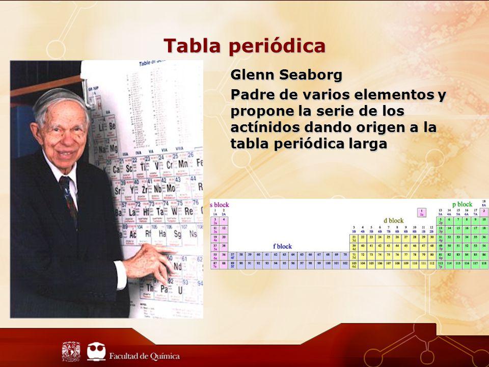 Tabla periódica Glenn Seaborg Padre de varios elementos y propone la serie de los actínidos dando origen a la tabla periódica larga