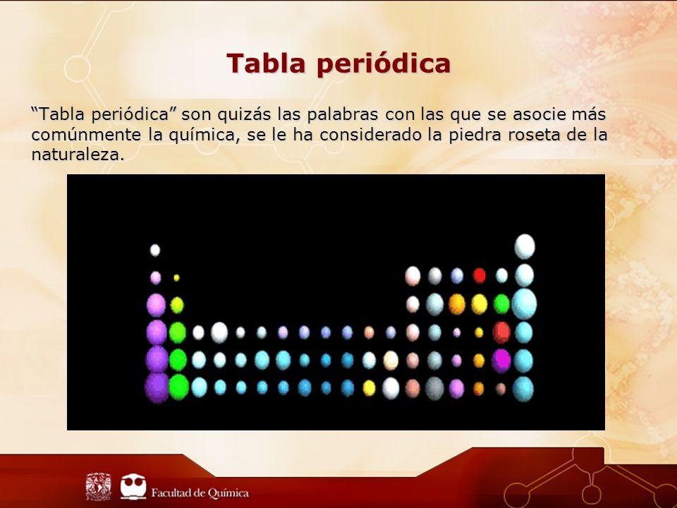 Tabla periódica Tabla periódica son quizás las palabras con las que se asocie más comúnmente la química, se le ha considerado la piedra roseta de la naturaleza.
