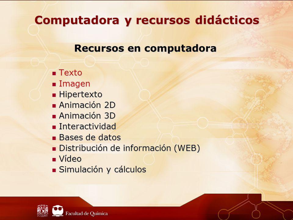 Computadora y recursos didácticos Recursos en computadora Texto Texto Imagen Imagen Hipertexto Hipertexto Animación 2D Animación 2D Animación 3D Animación 3D Interactividad Interactividad Bases de datos Bases de datos Distribución de información (WEB) Distribución de información (WEB) Vídeo Vídeo Simulación y cálculos Simulación y cálculos