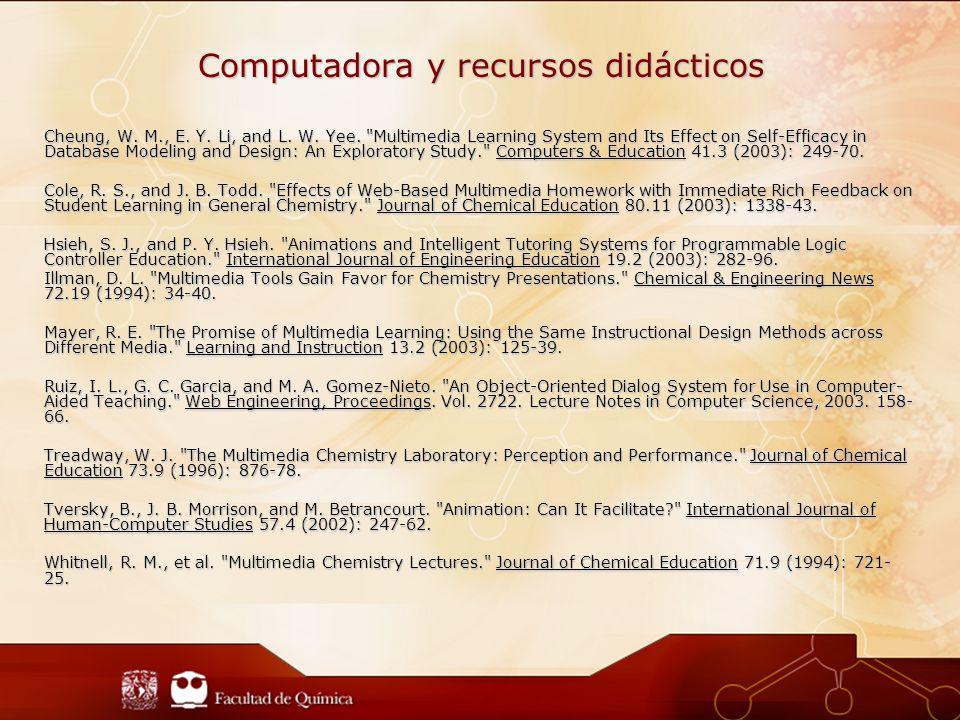 Computadora y recursos didácticos Cheung, W.M., E.