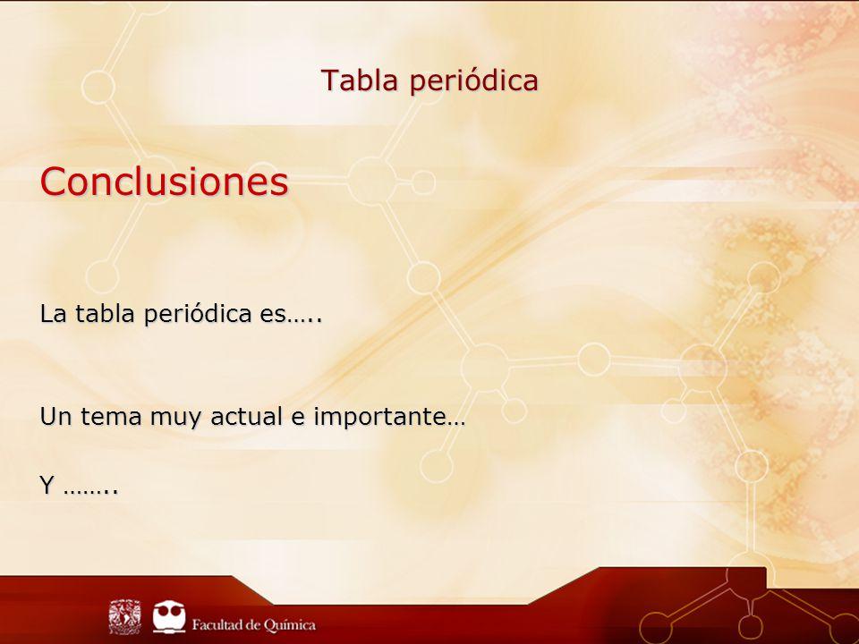 Conclusiones La tabla periódica es….. Un tema muy actual e importante… Y …….. Tabla periódica