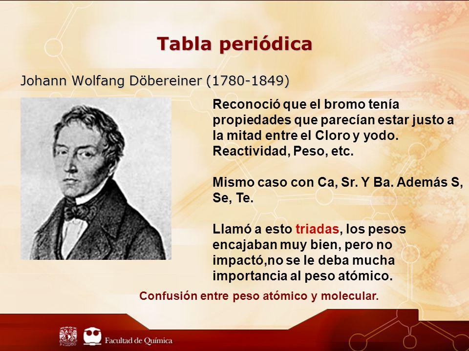 Tabla periódica Johann Wolfang Döbereiner (1780-1849) Reconoció que el bromo tenía propiedades que parecían estar justo a la mitad entre el Cloro y yodo.