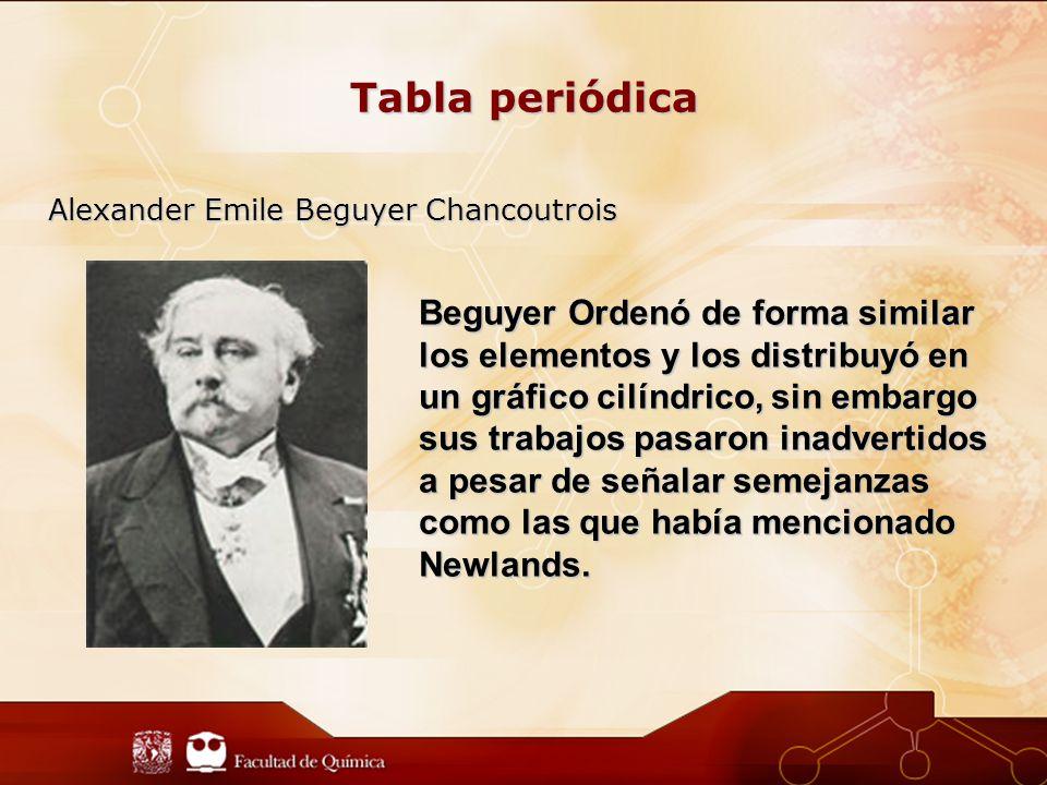 Tabla periódica Alexander Emile Beguyer Chancoutrois Beguyer Ordenó de forma similar los elementos y los distribuyó en un gráfico cilíndrico, sin embargo sus trabajos pasaron inadvertidos a pesar de señalar semejanzas como las que había mencionado Newlands.