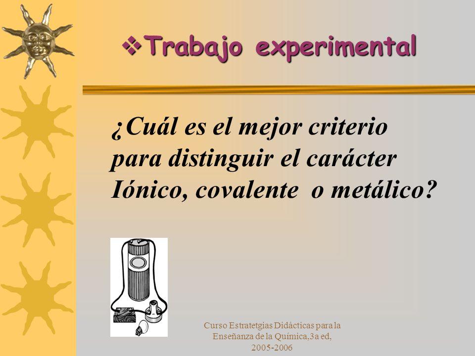 Curso Estratetgias Didácticas para la Enseñanza de la Química,3a ed, 2005-2006 ¿Cuál es el mejor criterio para distinguir el carácter Iónico, covalente o metálico.