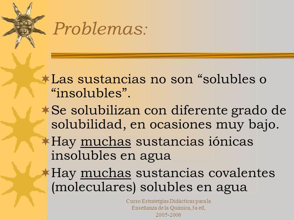 Curso Estratetgias Didácticas para la Enseñanza de la Química,3a ed, 2005-2006 Problemas : Las sustancias no son solubles o insolubles.