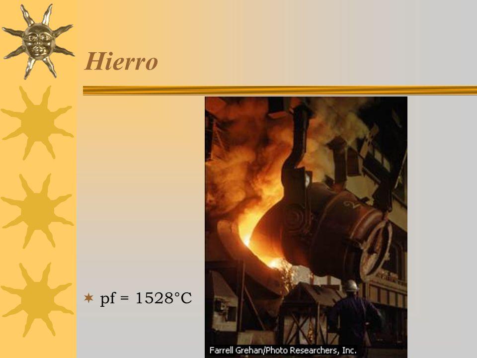 Curso Estratetgias Didácticas para la Enseñanza de la Química,3a ed, 2005-2006 Hierro pf = 1528°C
