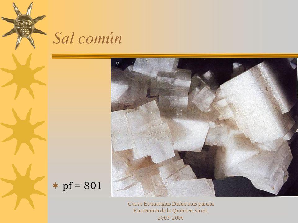 Curso Estratetgias Didácticas para la Enseñanza de la Química,3a ed, 2005-2006 Sal común pf = 801