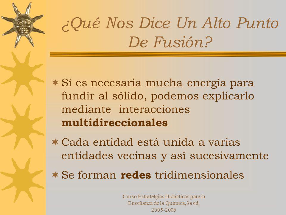 Curso Estratetgias Didácticas para la Enseñanza de la Química,3a ed, 2005-2006 ¿Qué Nos Dice Un Alto Punto De Fusión.