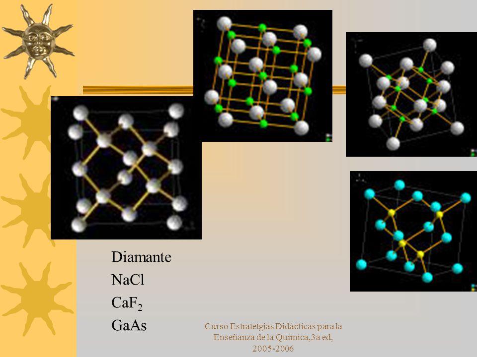 Curso Estratetgias Didácticas para la Enseñanza de la Química,3a ed, 2005-2006 Diamante NaCl CaF 2 GaAs