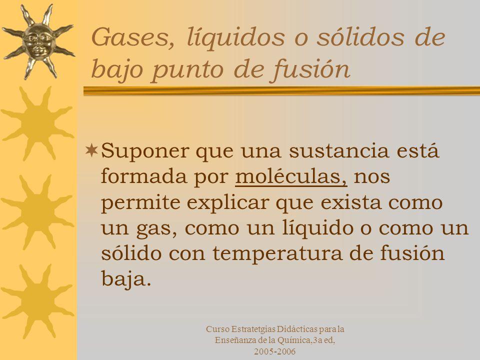 Curso Estratetgias Didácticas para la Enseñanza de la Química,3a ed, 2005-2006 Gases, líquidos o sólidos de bajo punto de fusión Suponer que una sustancia está formada por moléculas, nos permite explicar que exista como un gas, como un líquido o como un sólido con temperatura de fusión baja.