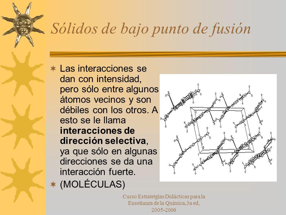 Curso Estratetgias Didácticas para la Enseñanza de la Química,3a ed, 2005-2006 Sólidos de bajo punto de fusión Las interacciones se dan con intensidad, pero sólo entre algunos átomos vecinos y son débiles con los otros.
