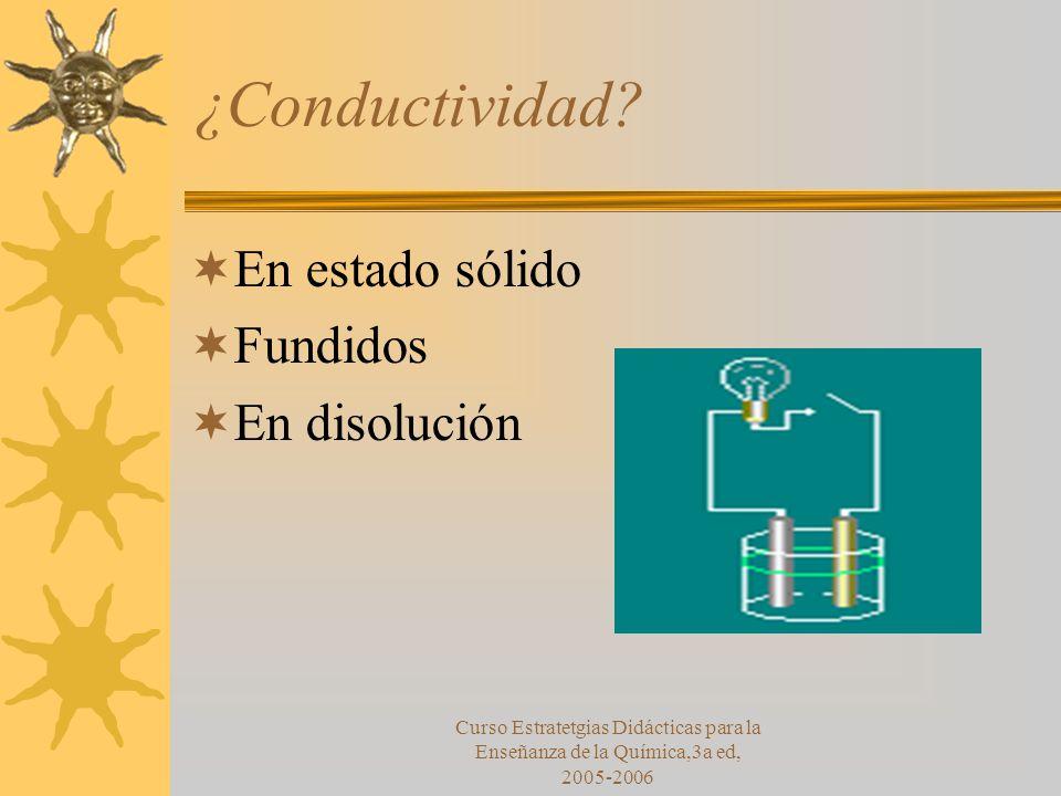 Curso Estratetgias Didácticas para la Enseñanza de la Química,3a ed, 2005-2006 ¿Conductividad.