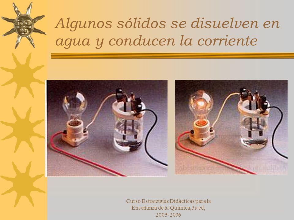 Curso Estratetgias Didácticas para la Enseñanza de la Química,3a ed, 2005-2006 Algunos sólidos se disuelven en agua y conducen la corriente