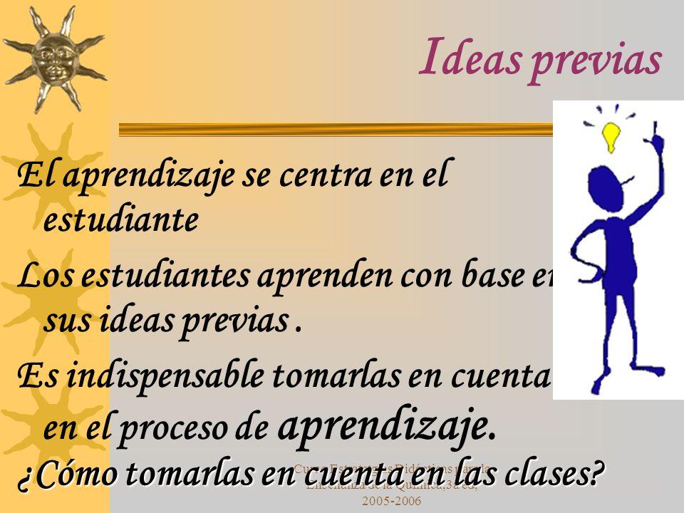 Curso Estratetgias Didácticas para la Enseñanza de la Química,3a ed, 2005-2006 I deas previas El aprendizaje se centra en el estudiante Los estudiantes aprenden con base en sus ideas previas.