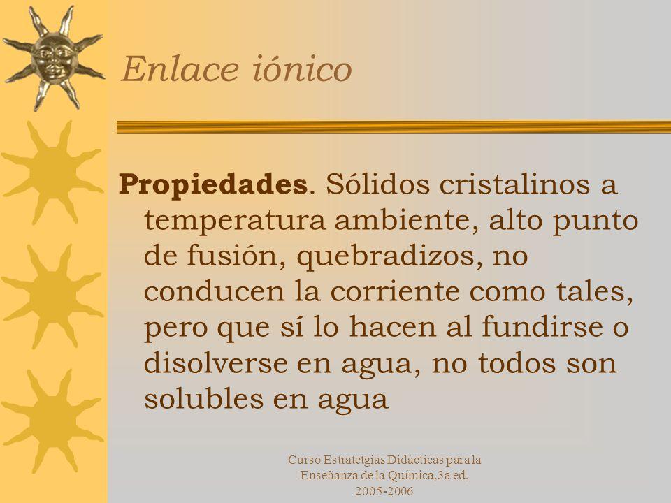 Curso Estratetgias Didácticas para la Enseñanza de la Química,3a ed, 2005-2006 Enlace iónico Propiedades.