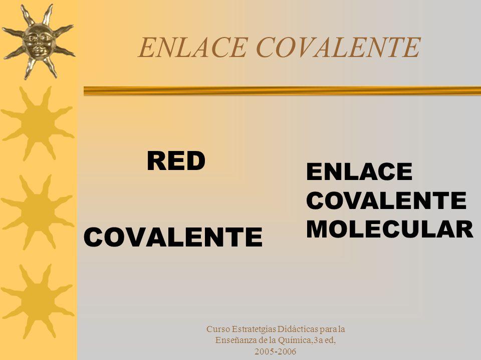 Curso Estratetgias Didácticas para la Enseñanza de la Química,3a ed, 2005-2006 ENLACE COVALENTE RED COVALENTE ENLACE COVALENTE MOLECULAR
