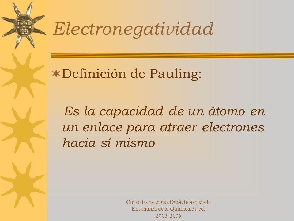 Curso Estratetgias Didácticas para la Enseñanza de la Química,3a ed, 2005-2006 Electronegatividad Definición de Pauling: Es la capacidad de un átomo en un enlace para atraer electrones hacia sí mismo