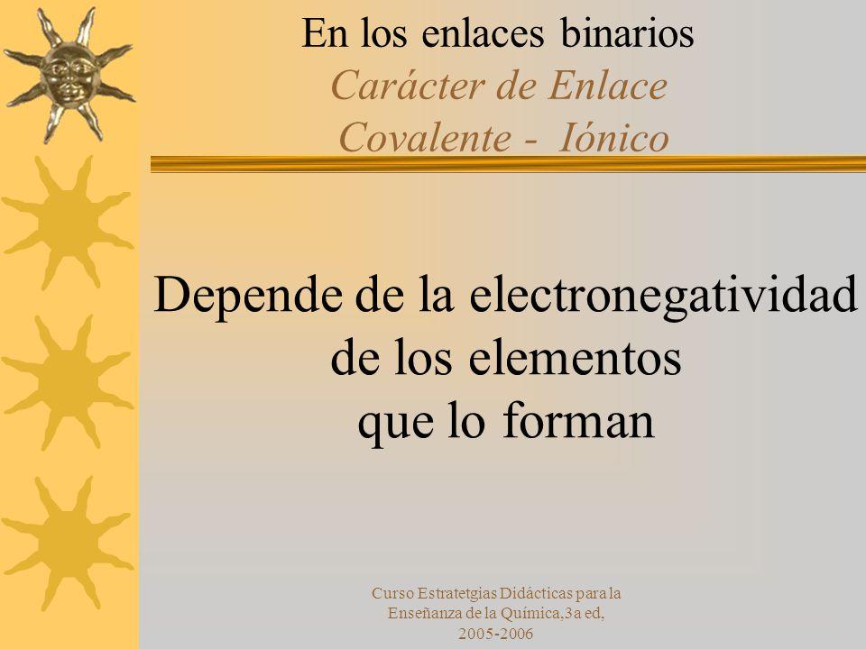 Curso Estratetgias Didácticas para la Enseñanza de la Química,3a ed, 2005-2006 En los enlaces binarios Carácter de Enlace Covalente - Iónico Depende de la electronegatividad de los elementos que lo forman
