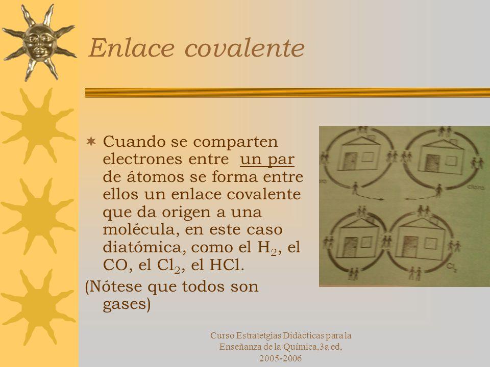Curso Estratetgias Didácticas para la Enseñanza de la Química,3a ed, 2005-2006 Enlace covalente Cuando se comparten electrones entre un par de átomos se forma entre ellos un enlace covalente que da origen a una molécula, en este caso diatómica, como el H 2, el CO, el Cl 2, el HCl.