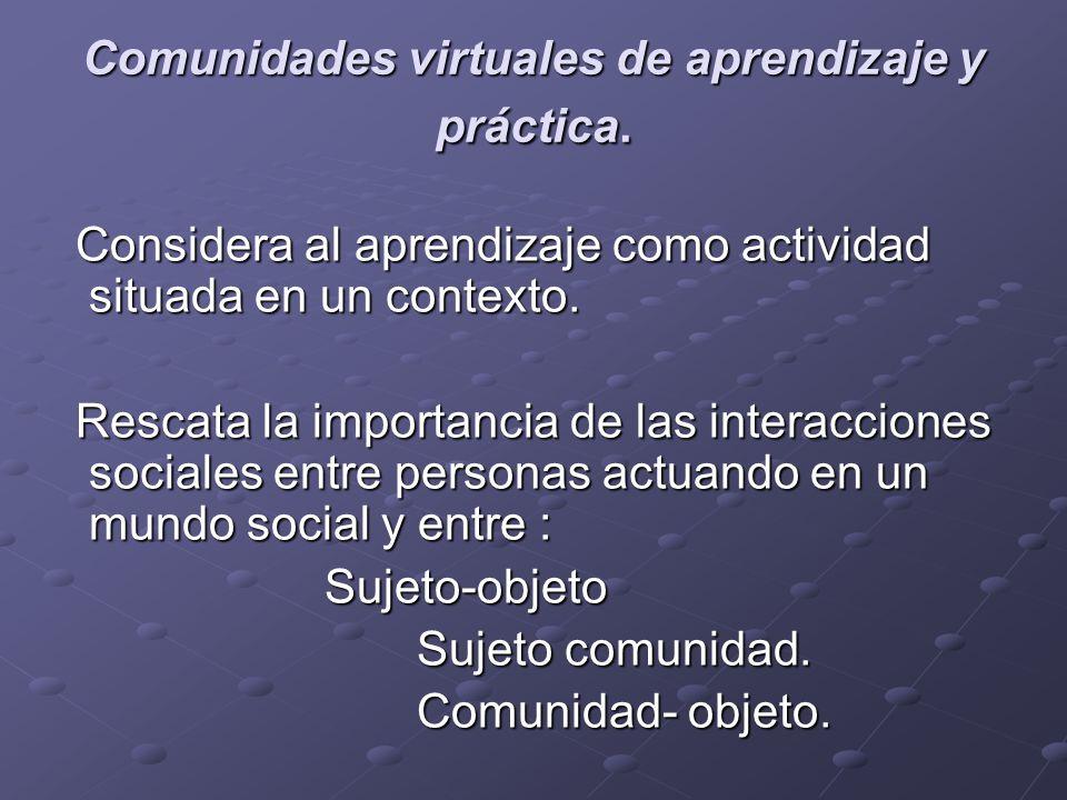 Comunidades virtuales de aprendizaje y práctica. Considera al aprendizaje como actividad situada en un contexto. Considera al aprendizaje como activid