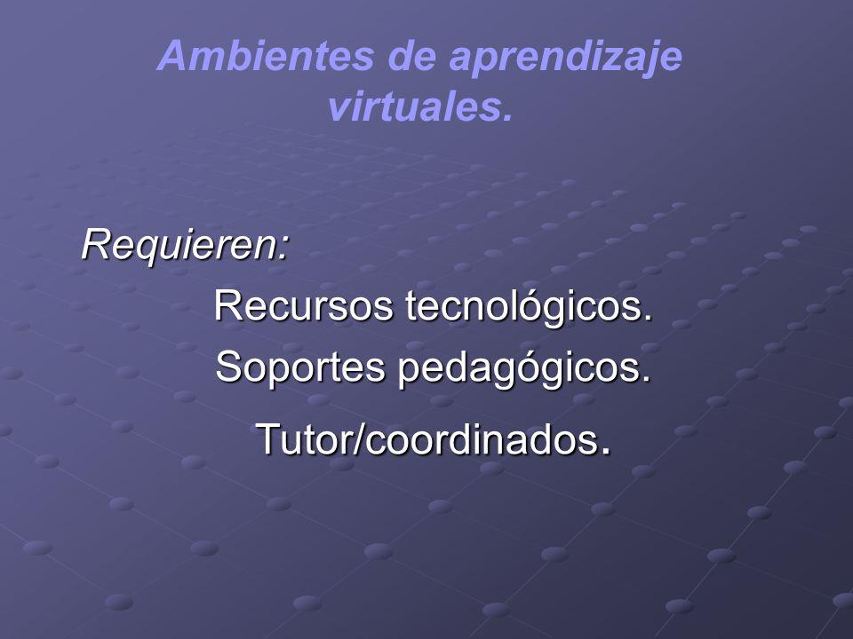 Ambientes de aprendizaje virtuales. Requieren: Recursos tecnológicos. Soportes pedagógicos. Tutor/coordinados.